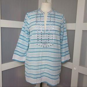MICHAEL Michael Kors Tops - Amazing Michael Kors Blue & White Tunic Top Blouse